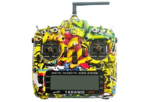 FrSky Taranis X9D Plus Sender 2,4GHz in Mode 2 mit deutscher Menüführung, Special-Edition mit M9 Gimbal mit Hall-Sensoren und Softcase im Rock Monster Design