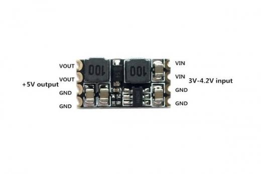 Micro StepUp mit LC Filter 3-4,2Volt auf 5Volt mit 0,5 Ampere