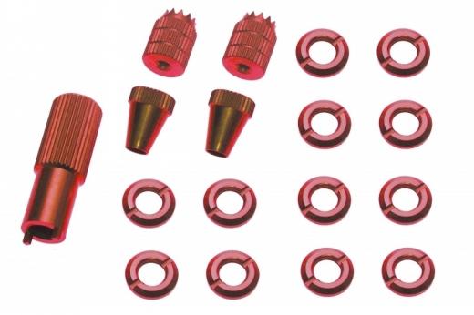 Schaltermuttern Set mit Stick´s und Werkzeug für Frsky Taranis Q X7, Q X7S und X9D Plus aus Alu eloxiert in rot