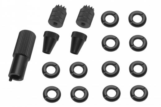 Schaltermuttern Set mit Stick´s und Werkzeug für Frsky Taranis Q X7, Q X7S und X9D Plus aus Alu eloxiert in schwarz