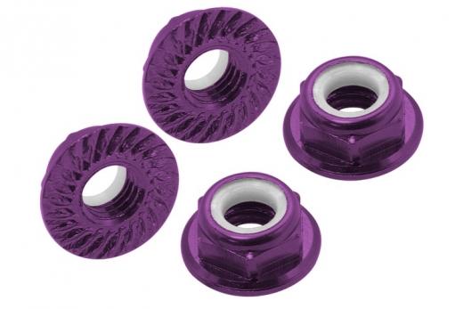 M5 Stoppmutter aus Alu mit Flansch und Sperrverzahnung in violet eloxiert CW 4 Stück