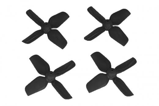 HQ Micro Whoop Vierblatt Propeller 1,2x1,2x4 (31mm) je 2 Stück CW und CCW für 0,8mm Welle in schwarz