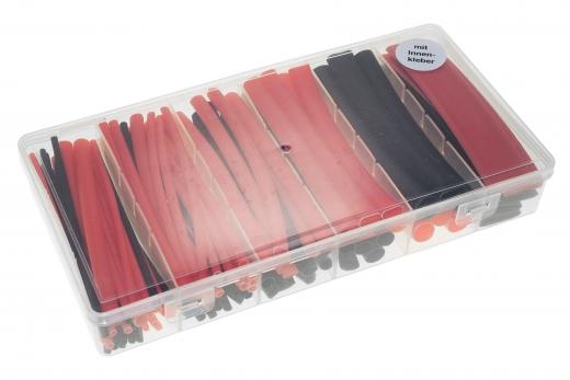 Schrumpfschlauchsortiment 2:1 mit Innenkleber in einer praktischen PVC-Box Länge 10cm 102 Stück