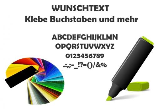 Schneideplott Buchstaben und Zahlen zum Aufkleben mit WUNSCHTEXT Höhe 15mm