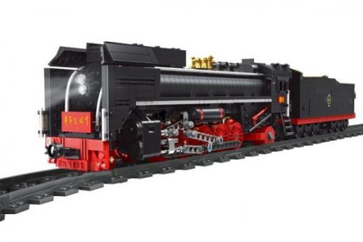 Mould King Klemmbausteine Dampflokomotive mit Fernsteuerung und Schienenkreis - 1552 Teile