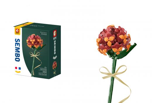 Sembo Klemmbausteine Blumen - Drachenbootblume in rot/orange