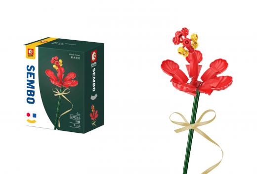 Sembo Klemmbausteine Blumen - Fuso Blume in rot