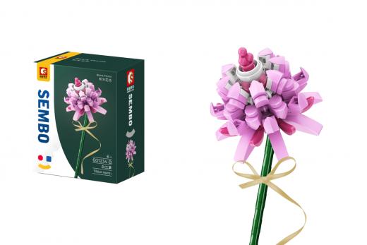 Sembo Klemmbausteine Blumen - Weißklee Sommerblume in rosa