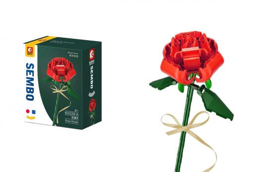 Sembo Klemmbausteine Blumen - Rose in rot