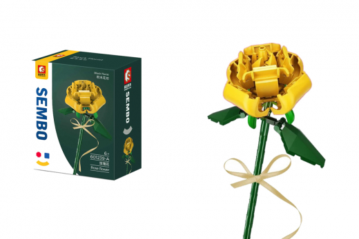 Sembo Klemmbausteine Blumen - Rose in gelb