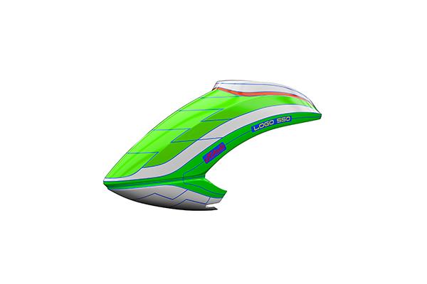Mikado Haube LOGO 550 neon-grün/weiß