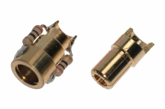 Antiblitz Goldverbinder 6,0mm Stecker und Buchse