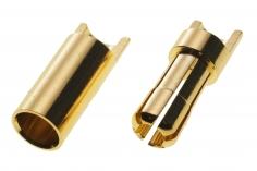 Goldkontaktstecker 5,5mm geschlitzt mit Löthalbschale 1Paar