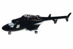 250er Scale Rumpf Bell 222 GFK Airwolf schwarz für Align T-REX 250