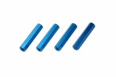 Abstandshalter M3 aus Alu in blau 4 Stück 25mm