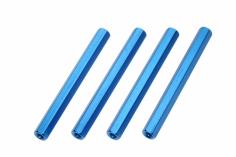 Abstandshalter M3 aus Alu in blau 4 Stück 50mm