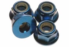 M5 Stoppmutter aus Alu mit Flansch in blau eloxiert CW 4 Stück