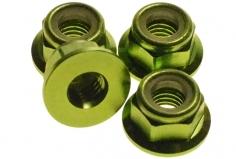 M5 Stoppmutter aus Alu mit Flansch in grün eloxiert CW 4 Stück