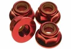 M5 Stoppmutter aus Alu mit Flansch in rot eloxiert CW 4 Stück