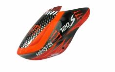 Rakonheli Fiberglass Haube Monster Design schwarz/rot für den Blade 120 S