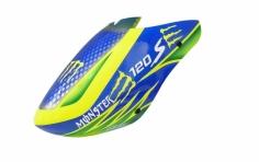 Rakonheli Fiberglass Haube Monster Design blau/gelb für den Blade 120 S