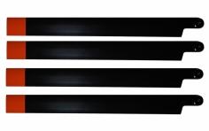 HeliTec der Blattschmied Scale Hauptrotorblätter 4Blatt in schwarz/orange 435 mm