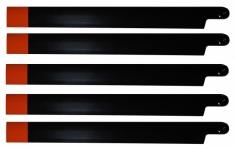 HeliTec der Blattschmied Scale Hauptrotorblätter 5Blatt in schwarz/orange 600mm