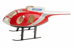 250er Scale Rumpf Hughes MD500E rot für Align T-REX 250