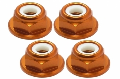 M5 Stoppmutter flach aus Alu mit Flansch in orange eloxiert CW 4 Stück