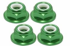 M5 Stoppmutter flach aus Alu mit Flansch in grün eloxiert CW 4 Stück