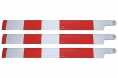 HeliTec der Blattschmied Scale Hauptrotorblätter 3Blatt in weiß mit roten Streif