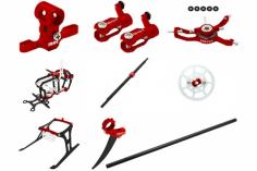 Rakonheli Tuning Set mit 2 Blatt Kopf in rot für Blade Nano CPs