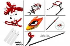 Rakonheli Tuning Set mit 3 Blatt Kopf in rot für Blade Nano CPs