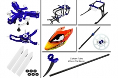 Rakonheli Tuning Set mit 3 Blatt Kopf in blau für Blade Nano CPs