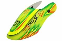 Lionheli Fiberglass Haube Monster Design 03 grün/gelb für den Blade 130s