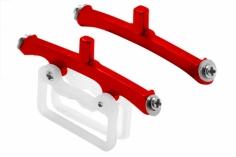Rakonheli Landegestell- und Akkuhalterung in rot aus CNC Alu für Blade m SR S
