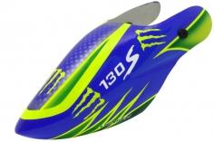 Lionheli Fiberglass Haube Monster Design 04 blau/gelb für den Blade 130s