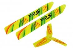 Lionheli Airbrush Kunststoff Rotorblatt Set in Monsterdesign gelb für Blade 130S