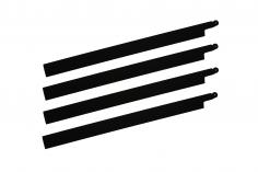 HeliTec der Blattschmied Scale Hauptrotorblätter 4Blatt symetrisch in matt schwarz 435mm
