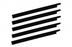 HeliTec der Blattschmied Scale Hauptrotorblätter 5Blatt symetrisch in matt schwarz 435mm