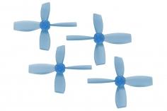 Rakonheli Propellerset 4 Blatt 2222 in transparentem blau 4 Stück (2xCW 2x CCW, 1,5mm Welle) für Blade Torrent 110 FPV