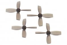 Rakonheli Propellerset 4 Blatt 2222 in transparentem schwarz 4 Stück (2xCW 2x CCW, 1,5mm Welle) für Blade Torrent 110 FPV