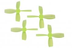 Rakonheli Propellerset 4 Blatt 2222 in transparentem gelb 4 Stück (2xCW 2x CCW, 1,5mm Welle) für Blade Torrent 110 FPV