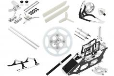 Rakonheli Tuning Set aus CNC Aluminium in silber für den Blade 130S