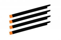HeliTec der Blattschmied Scale Hauptrotorblätter 4Blatt symetrisch in matt schwarz mit orangener Spitze 435mm