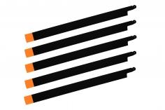 HeliTec der Blattschmied Scale Hauptrotorblätter 5Blatt symetrisch in matt schwarz mit orangener Spitze 435mm