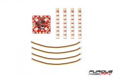 Furious FPV Lightning PDB Lichtsteuerung mit 4 Stück RGB LED Streifen 1 Reihig spritzwassergeschützt mit Anschlusskabel