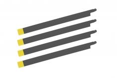 HeliTec der Blattschmied Scale Hauptrotorblätter 5Blatt symetrisch in matt dunkelgrau mit gelber Spitze 435mm