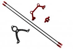 Rakonheli Heckstrebenhalterungs Set in Carbon/Alu rot für Blade mCP S