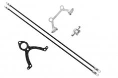 Rakonheli Heckstrebenhalterungs Set in Carbon/Alu silber für Blade mCP S